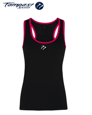 Tempest Women's performance panelled fitness vest - Black Pink