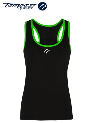 Tempest Women's performance panelled fitness vest - Black Green