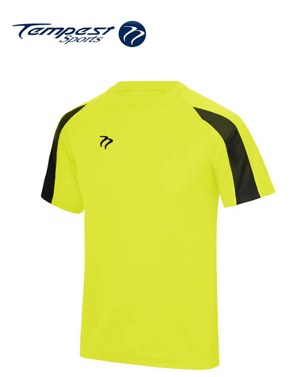 Tempest Lightweight Electric Yellow Black Mens Training Shirt